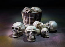 Awesome, pile of skull,on floor and in cup, Stock Images