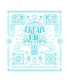Awesome poster in trendy linear style. Dream big quote. Royalty Free Stock Images