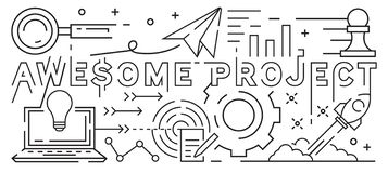Awesome Project Line Art Design. Youthful Doodle Style. Black And White Illustration. Business, Startup, And Project Concept. Thin royalty free illustration