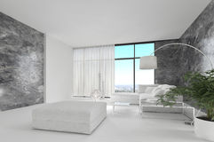 Awesome Pure White Loft Living Room | Architecture Interior Royalty Free Stock Image