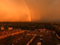 Awesome rainbow shot from drone Royalty Free Stock Photo