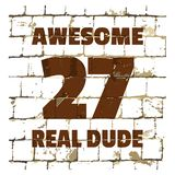 Awesome Real Dude printed on stylized brick wall. Textured inscription for your design. Vector. Illustration stock illustration
