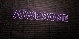 AWESOME -Realistic Neon Sign on Brick Wall background - 3D rendered royalty free stock image Stock Photos