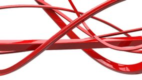 Awesome red abstract swirls and ribbons. Isolated on white background Royalty Free Stock Photos