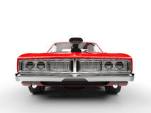 Awesome red muscle car - front view Royalty Free Stock Photography