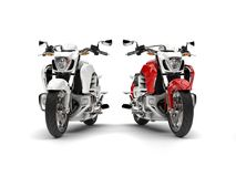 Awesome red and white chopper bikes. 3D Illustration Stock Photo