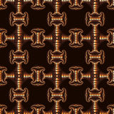Awesome seamless pattern with copper decorative elements on dark brown background Stock Images