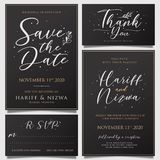 Awesome simple wedding invitations with flower decorations vector illustration