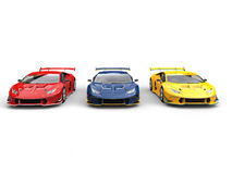 Awesome sports supercars - red, blue and yellow Royalty Free Stock Photography