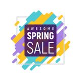 Colorful square pixel spring sale template. Awesome spring sale. Abstract dynamic geometric pixel background with round frame. Modern vector illustration Stock Illustration
