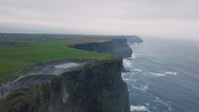 Awesome stones view cliffs of moher taking video with the drone from the air , in the evening. stock footage