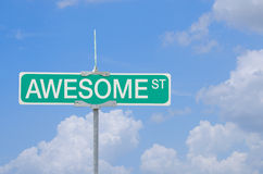 Awesome Street sign with blue sky background Royalty Free Stock Image