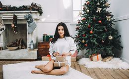 Portrait of beautiful girl before christmas Stock Images