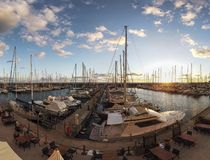 Awesome sunset panorama at marina in Rome with scenic sky and nice light and relaxing atmosphere - Italy royalty free stock image