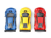 Awesome supercars in primary colors - top down view Stock Photos