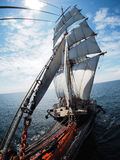 Awesome tallship, view from bowsprit Royalty Free Stock Images