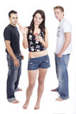 Awesome threesome 7. He loves me loves me not Stock Photography