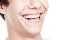 Awesome toothy smile closeup Stock Images