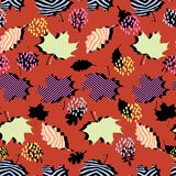 Awesome unique autumn fall foliage vector pattern with memphis geometric trendy colorful abstract. Maple leaves on hipster multico vector illustration