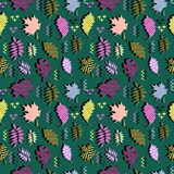 Awesome unique autumn fall foliage vector pattern with memphis geometric trendy colorful abstract. Maple leaves on hipster multico royalty free illustration
