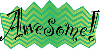 Awesome! Vector graphic. The word Awesome! in a fun and zany font on a green and yellow chevron background Stock Photography