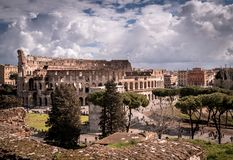 Autumm view of the Colosseum. Awesome view of the Coloseum on the back, with the autumm colors Royalty Free Stock Photo