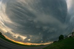 Ultra wide angle view of a severe thunderstorm with mammatus clouds near Alliance, Nebraska. stock photos