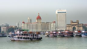 Awesome view of Hotel Taj & Gate way of India with boats on sea looking beautiful. This snap has taken from mumbai at the time of mumbai tour. this is a Royalty Free Stock Photos