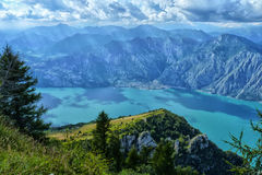 Awesome View from the Italian Alps. View from the top of Monte Baldo, part of the Italian Alps by Lake Garda in northern Italy Royalty Free Stock Photography