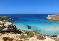 Awesome view of Lampedusa Island. In Southern Italy royalty free stock images