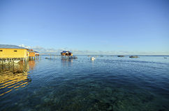 Awesome view of mabul island from budget lodge Royalty Free Stock Photography