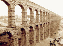 Awesome View of Roman Aqueduct of Segovia, Spain in Sepia Tone Royalty Free Stock Images