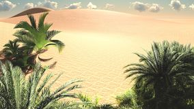 Awesome view on Sahara desert at sundown 3d rendering. Amazing evening hours above african desert Royalty Free Stock Photos