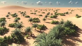 Awesome view on Sahara desert at sunset 3d rendering. Awesome view on Sahara desert at sunset Royalty Free Stock Image