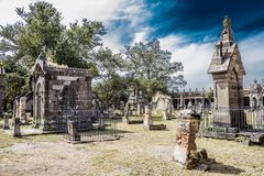 Awesome view of the tombs in the cemetery of belen with a blue sky background royalty free stock photos