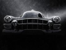 Awesome vintage black car - neo noir style. Closeup shot Stock Photos