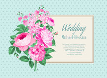 Awesome vintage label. Of color flowers. Wedding Card and engagement announcement. Wedding of Michael and Jessica. Vector illustration Stock Image