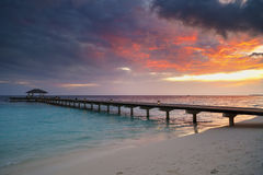 Awesome vivid sunset over the jetty Stock Photography