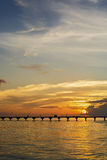 Awesome vivid sunset over the jetty Royalty Free Stock Photo