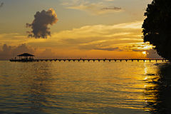 Awesome vivid sunset over the jetty Royalty Free Stock Images