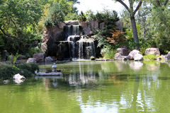 Awesome Waterfall. An awesome waterfall at the Albuquerque botannical gardens Royalty Free Stock Photos