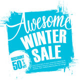 Awesome Winter Sale. Special offer banner with handwritten text design Stock Photo