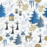 Awesome winter seamless pattern with house in forest. Stylish brown and blue holiday background. Winter composition for Stock Photos