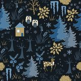 Awesome winter seamless pattern with house in night forest. Stylish back, brown and blue holiday background. Winter Royalty Free Stock Image