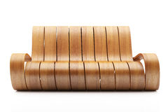 Awesome Wood Couch. On white background stock image