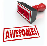 Awesome Word Rubber Stamp 3D Rating Review Feedback. Awesome word stamped by a rubber stamp to illustrate great feedback, reviews, ratings, comments or opinions Stock Photo