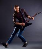 awesomen игрок гитары Стоковые Фотографии RF