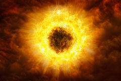 Awful burning evil eye, huge red explosion, gate to hell Stock Image