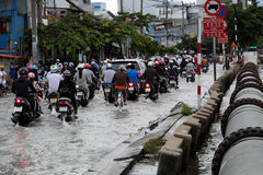 Awful flooded street at Ho Chi Minh city Stock Images