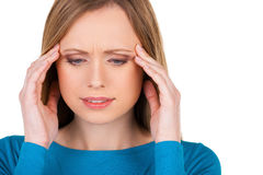 Awful headache. Stock Photography